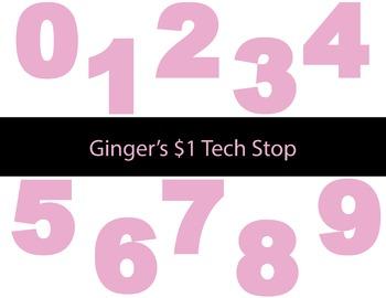 LIGHT / PASTEL PINK * Bulletin Board * Numbers * 0123456789 * EASTER * SPRING