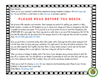 LIGHTBOX DESIGN INSERTS FOR CLASSROOM MESSAGES  Print version