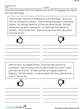 LIKES, DISLIKES PRACTICE (FRENCH)
