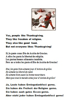 LILA & JUAN THANKSGIVING  SIGHT WORDS READER IN ENGLISH, SPANISH, FRENCH, GERMAN