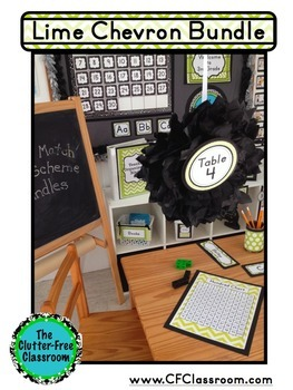 LIME CHEVRON Classroom Decor - EDITABLE Clutter-Free Classroom Decor BUNDLE