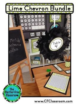 LIME Classroom Decor CHEVRON, EDITABLE