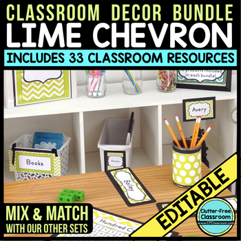 LIME CHEVRON Classroom Decor - EDITABLE Clutter-Free Class