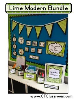LIME MODERN PATTERN Classroom Decor-EDITABLE Clutter-Free Classroom Decor BUNDLE