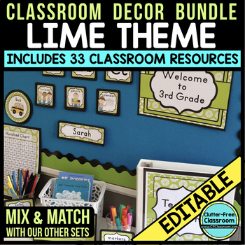 LIME MODERN PATTERN Classroom Decor-EDITABLE Clutter-Free
