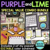 LIME and PURPLE Polka Dots Classroom Decor EDITABLE