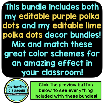 LIME and PURPLE Polka Dots Classroom Decor Bundle EDITABLE