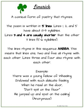 Limerick Poems Step By Step Worksheets Free By Little Rain Kids Tpt
