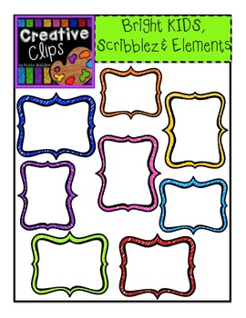 LIMITED EDITION! Bright KIDS, Scribble Elements {Creative Clips Digital Clipart}
