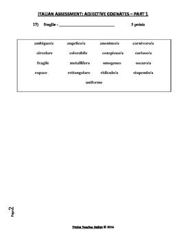 Italian Made Simple: Adjective Cognates Assessment – Part 1