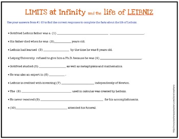 CALCULUS Limits at Infinity and the life of LEIBNIZ