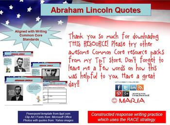 LINCOLN Quotes Writing Practice: RACE Strategy W 8.2