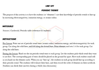 LINE UP! Periodic Trends