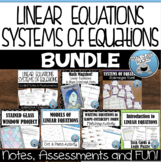 LINEAR EQUATIONS & SYSTEMS OF EQUATIONS BUNDLE!!