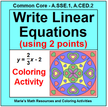 LINEAR EQUATIONS: WRITE LINEAR EQUATIONS USING TWO POINTS #4 - COLORING ACTIVITY
