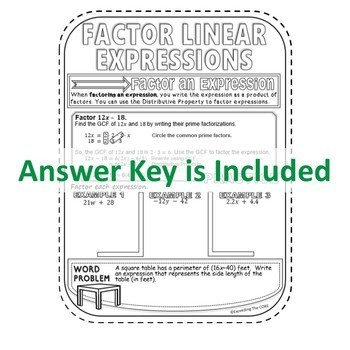 LINEAR EXPRESSIONS Doodle Notes (Study Guides)
