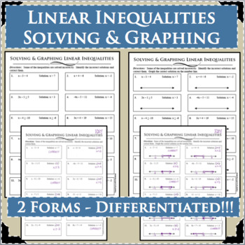 LINEAR INEQUALITIES Soving & Graphing Differentiated! 2 Forms!