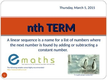 "LINEAR SEQUENCES - FINDING THE ""Nth"" TERM"