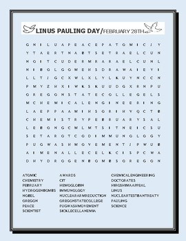 LINUS PAULING: A BIOGRAPHICAL WORD SEARCH ACTIVITY