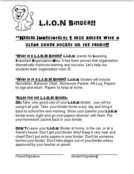 LION Binder Letter and Cover