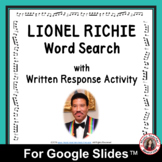 LIONEL RICHIE Word Search and Research Activity for Use wi