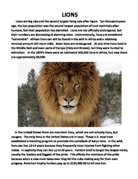 LIONS (GRADES 4 - 5)