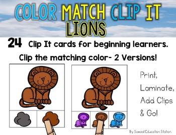 LIONS Color Match Clip It {A Beginning Work Task)