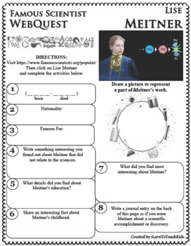 LISE MEITNER Science WebQuest Scientist Research Project Biography Notes