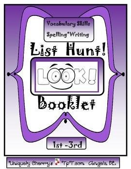 LIST HUNT! BOOKLET 1ST-3RD GR.