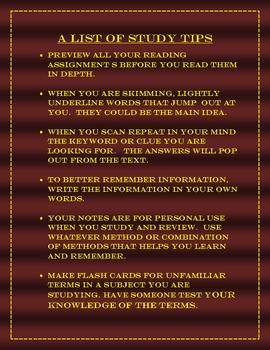 LIST OF STUDY TIPS