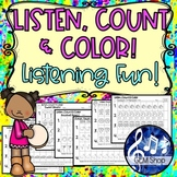 MUSIC Distance Learning LISTEN, COUNT & COLOR  No-Prep Ear