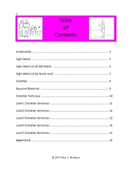 LISTEN, WRITE AND READ Sentences for Sight Word Dictation LEVELS 1-5