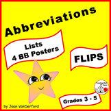 LISTS  ABBREVIATIONS   REFERENCE ♥ FLIPS for Interactive Notebooks   Gr 3-4-5