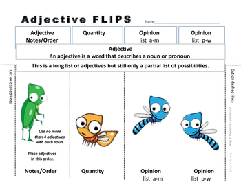 LISTS | ADJECTIVES | REFERENCE ♥ FLIPS | Quality,Opinion,Size,Shape UNIT| Gr.4-5