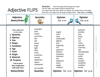 LISTS   ADJECTIVES   REFERENCE ♥ FLIPS   Quality,Opinion,Size,Shape UNIT  Gr.4-5