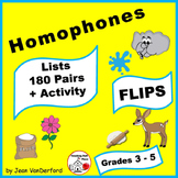 HOMOPHONE LISTS | Vocabulary  FLIPS ♥  INTERACTIVE NOTEBOOKS   Gr. 3-4-5