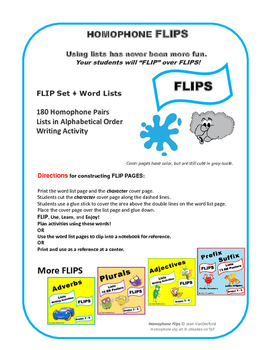 HOMOPHONE LISTS | Vocabulary  FLIPS ♥  INTERACTIVE NOTEBOOKS   Gr. 3-4-5