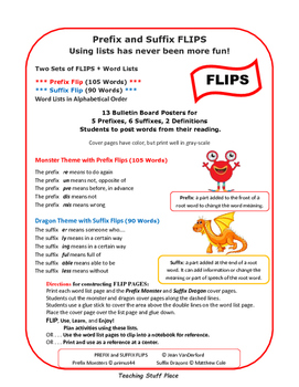 Prefix & Suffix LISTS | FLIPS ♥ | Unit Vocabulary | INTERACTIVE | Gr.3-4-5