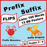Prefix & Suffix LISTS | FLIPS ♥ | Unit Vocabulary | INTERACTIVE | Gr.3-4-5