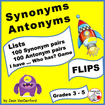 SYNONYMS & ANTONYMS LISTS     Monster Theme Gr  3-4-5 Vocabulary FLIPS