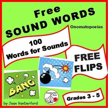 Onomatopoeias ... Words for Sounds  FREEBIE ♥ Interactive FLIPS  Gr 3-4-5