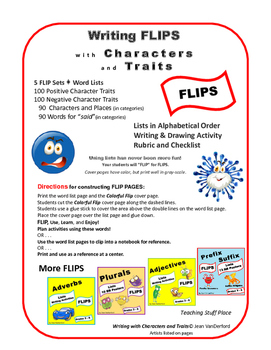 LISTS | Creative Writing | Characters & Traits | Interactive ♥ FLIPS | Gr. 3-4-5