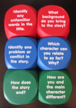 READING CUBES LITERACY CENTER pre during after READING DISCUSSION QUESTIONS