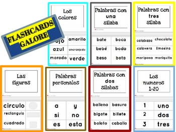 LITERACY CENTER WITH FLASHCARDS GALORE IN SPANISH