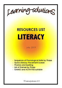 LITERACY RESOURCES CATALOGUE with SCREENER - Intervention Tool - FREEBIE
