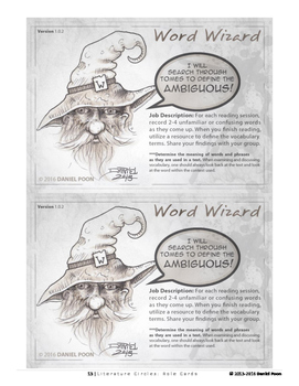Literature Circles: Role Cards (Literacy, Literary Reading Journals) DNP Designs
