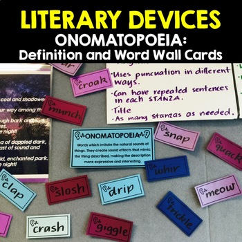 LITERARY DEVICES:  ONOMATOPOEIA - Definition & Word Wall Cards
