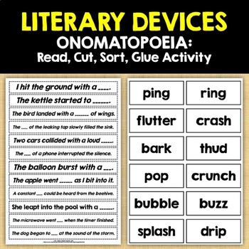 LITERARY DEVICES: ONOMATOPOEIA - Read, Cut, Sort, Paste