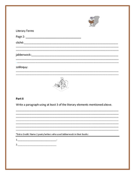 LITERARY TERMS HOMEWOK PROJECT: GRADES 4-7