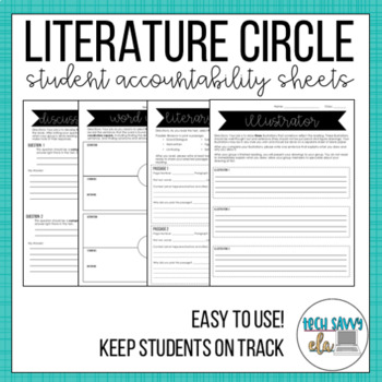 LITERATURE CIRCLE worksheet pack- GROWING- accountability for students